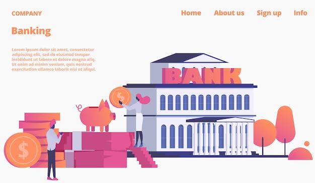Bank webpage, landing