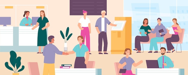 Bank with customers. cashier, credit department, atm, manager desk, reception and waiting area with clients talk to workers, vector concept. staff specialists assisting and consulting clients