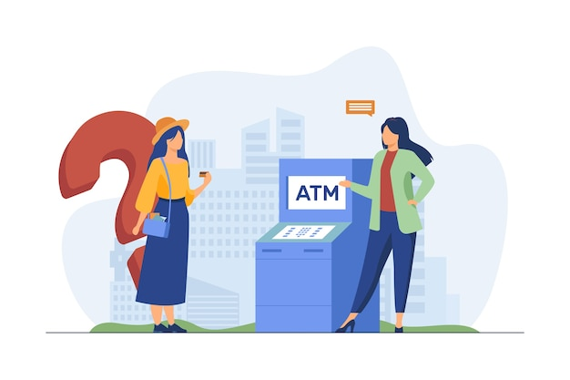Bank worker helping customers to use atm. girl with credit card having question flat vector illustration. finance, service, consultation