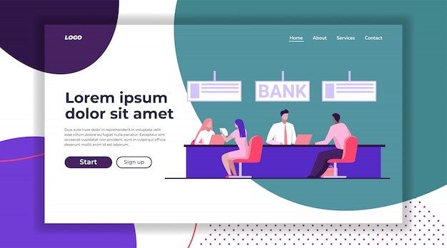 Bank workers providing service to clients landing page template