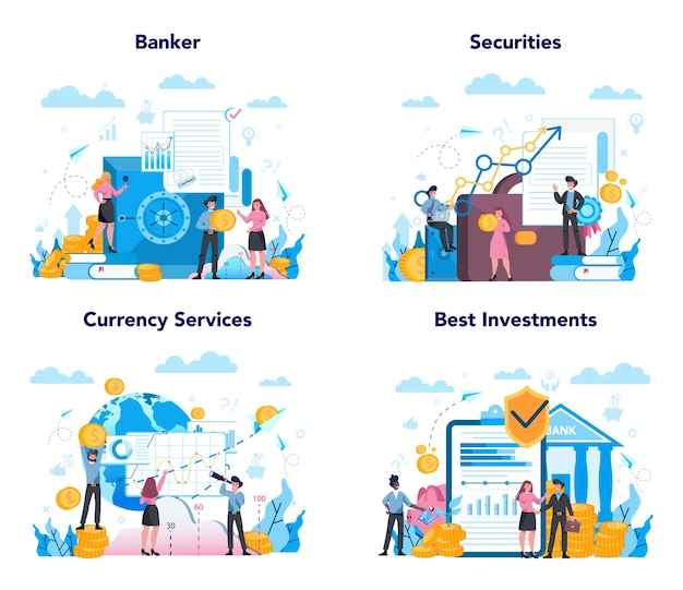 Banker or banking concept set. idea of finance income, money saving and wealth. depositing and investing a contribution in the bank.