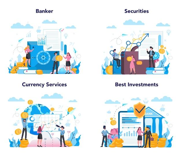 銀行家または銀行の概念セット。金融収入、お金の節約、富のアイデア。銀行への寄付の預け入れと投資。