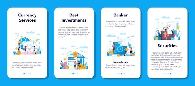 銀行家または銀行のモバイルアプリケーションのバナーセット。金融収入、お金の節約、富のアイデア。銀行への寄付の預け入れと投資。
