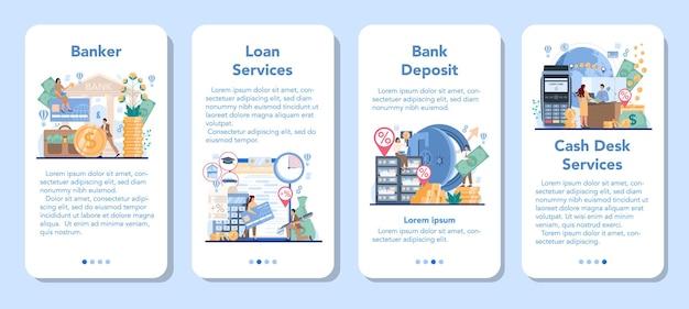 은행가 또는 은행 모바일 응용 프로그램 배너 세트