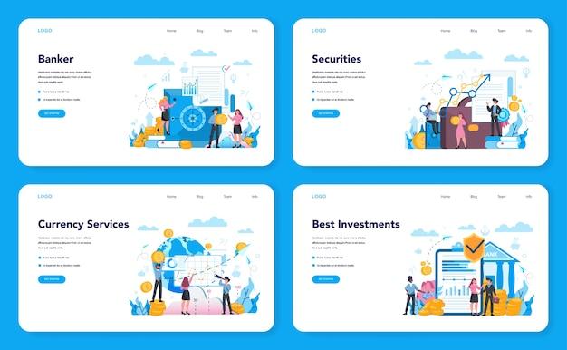 은행가 또는 은행 웹 배너 또는 방문 페이지 세트. 금융 수입, 돈 저축 및 부에 대한 아이디어. 은행에 기부금 입금 및 투자.