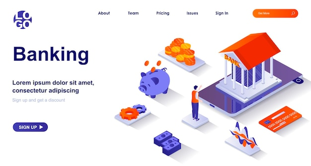 Banking 3d isometric landing page with people characters