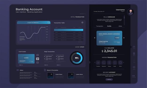 ダークモードの概念を持つ銀行口座ダッシュボード管理パネルインターフェイス