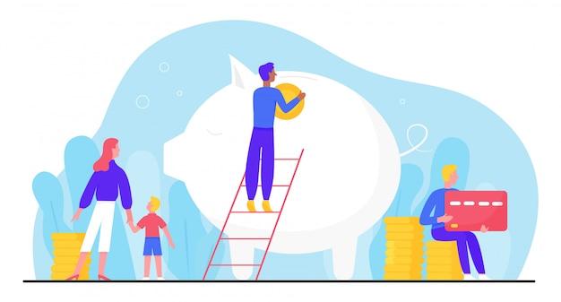 銀行口座のイラスト。漫画の小さな家族の人々は、貯金を増やして資本を増やすために、大きな貯金箱にコインを投資します。会計投資、白の資金成長の概念