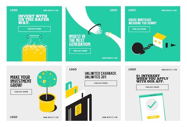 은행 및 금융 은행 소셜 미디어 게시물 컬렉션 템플릿