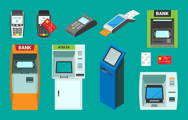 銀行およびpos端末のアイソメトリックセット。