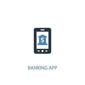 Banking app concept 2 colored icon. simple blue element illustration. banking app concept symbol design. can be used for web and mobile ui/ux