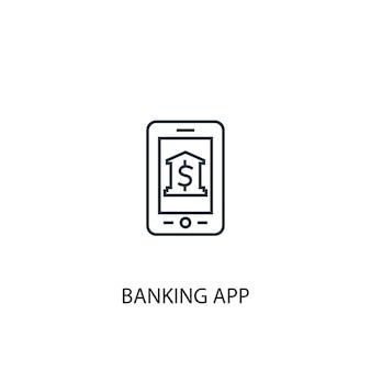 Значок линии концепции банковского приложения. простая иллюстрация элемента. банковское приложение концепция наброски символ дизайн. может использоваться для веб- и мобильных ui / ux