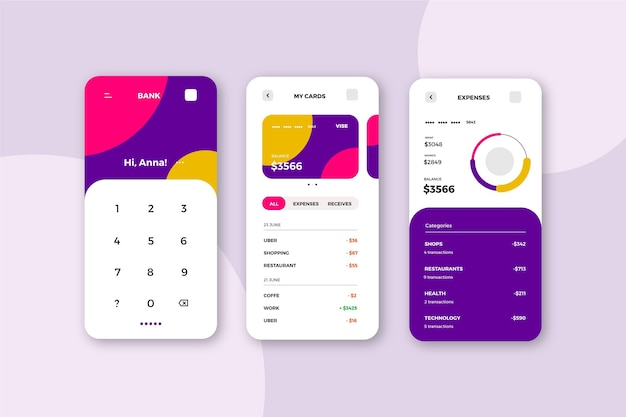 Banking app interface concept