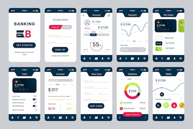 Banking app interface design