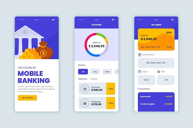 Banking app interface pack