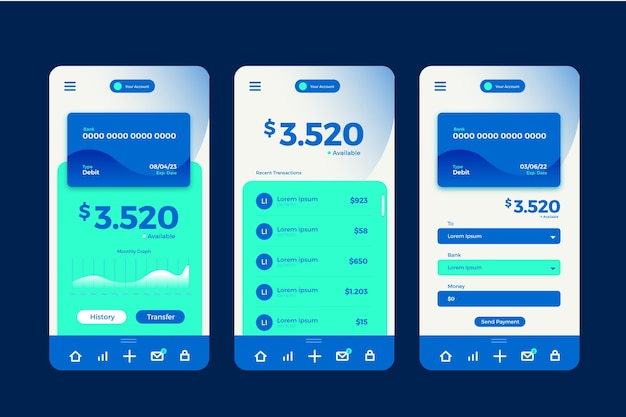 Banking app interface screens