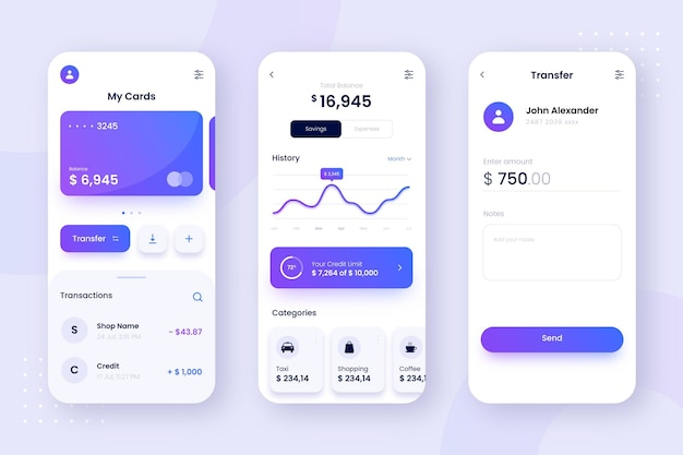 Banking app screens interface design