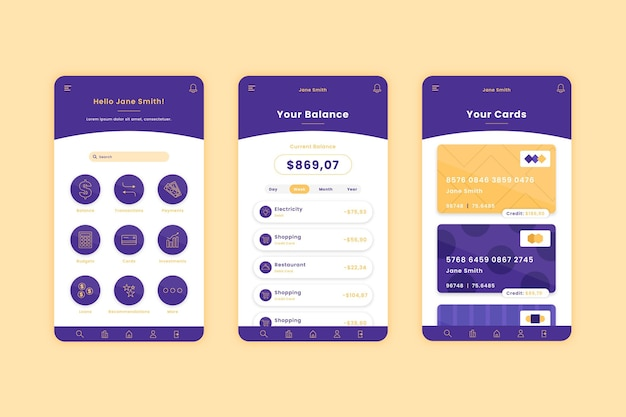Banking app template interface