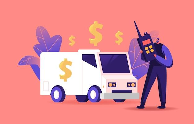 은행, 무장 현금 수송 경비원 캐릭터 수집가가 자동차에 서서 워키 토키로 말하기