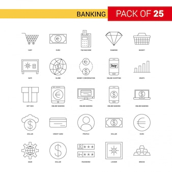 Banking Black Line Icon - 25 Business Outline Icon Set