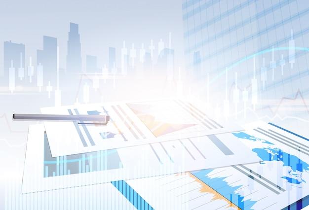 Банковский бизнес баннер финансы экономия абстрактный силуэт города фон