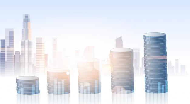 Банковский бизнес баннер финансы экономия силуэт город фон