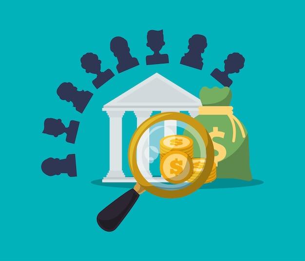 은행 문자 검색 동전 가방 돈