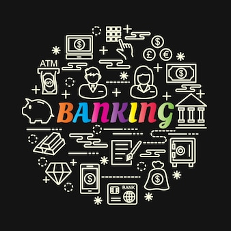 Banking colorful gradient with line icons set