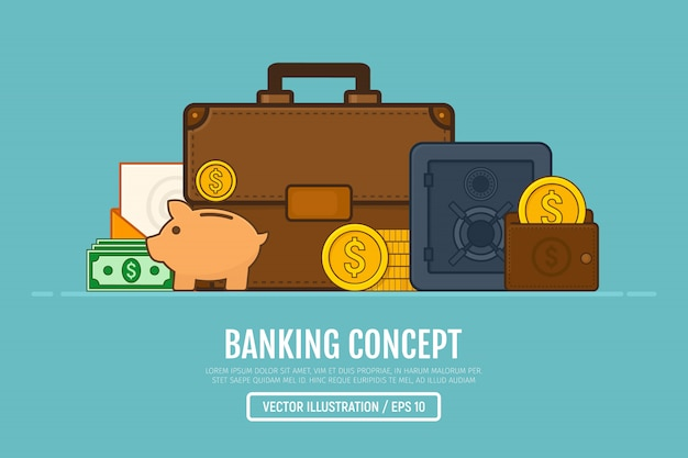 Banking concept. business illustration in line art style.