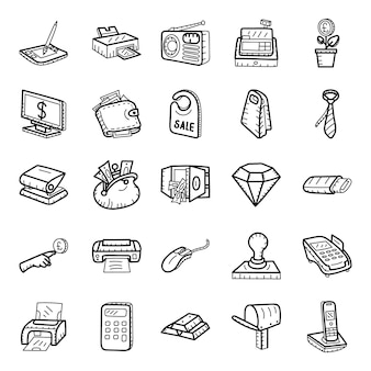 Banking and finance hand drawn icons pack