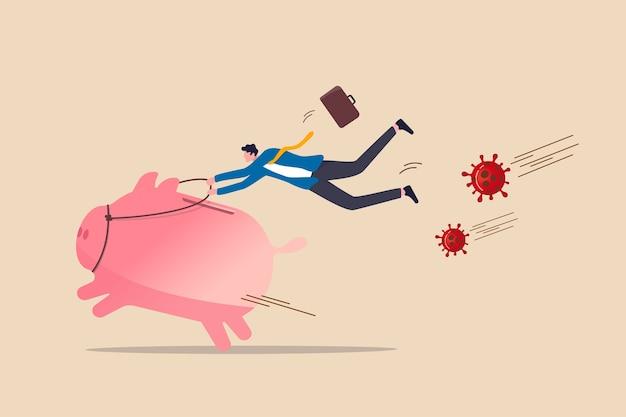 Covid-19コロナウイルスのパンデミック危機概念における銀行業務、財務活動、リスク管理、コロナウイルスcovid-19病原体から疾走するピンクの貯金箱に乗って成功するビジネスマン。