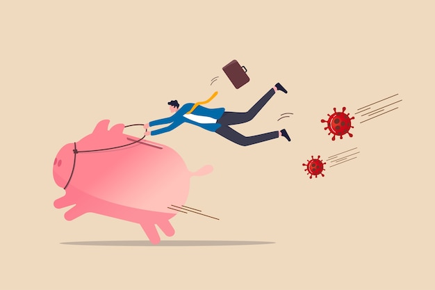 Banking, financial activities and risk management in covid-19 coronavirus pandemic crisis concept, success businessman riding fast running pink piggy bank to sprint from coronavirus covid-19 pathogen.