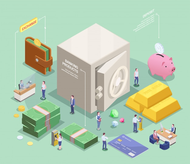 Banking financial isometric composition with infographic text captions and images of cash and safe deposit box vector illustration