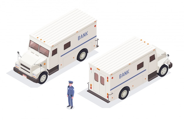 Banking financial isometric composition with isolated images of bank cash-in-transit vans