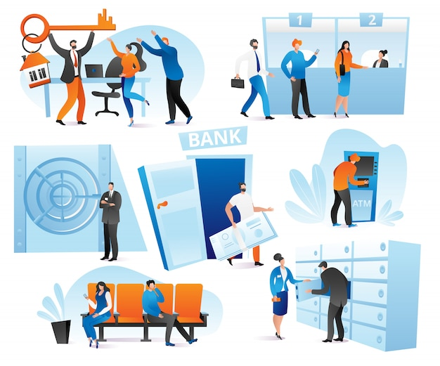 Banking financial services in bank set of  illustration. credit payment, counter desk, cashier, consulting and queuing for atm, currency exchange. money and bank interior transactions.