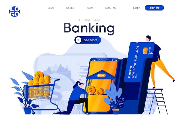 Banking flat landing page. people using banking mobile application for payment illustration. online credit card operations, money transactions web page composition with people characters.