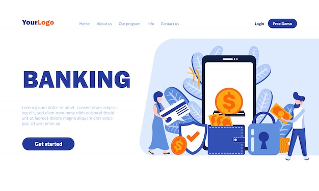 Banking flat landing page template with header