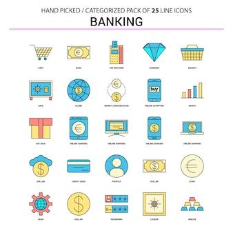 Banking flat line icon set