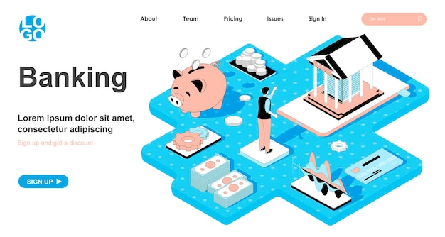 Banking isometric concept in 3d design for landing page