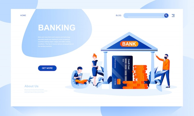Banking landing page template with header