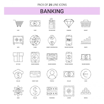 Banking line icon set - 25 dashed outline style