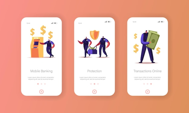Banking mobile app page onboard screen template