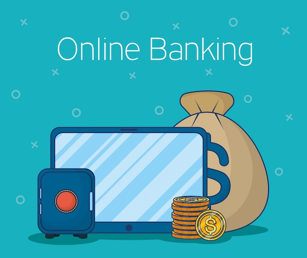 Banking online technology with tablet