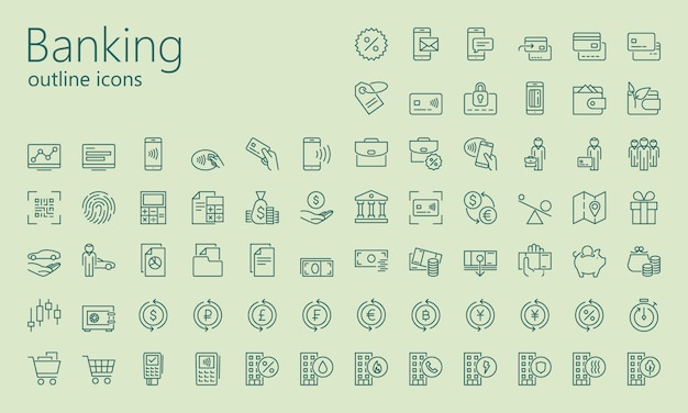 Banking outline icon set