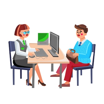 Banking question manager consulting visitor vector. bank worker talking with client young businessman about banking, credit or deposit. characters financial consultation flat cartoon illustration