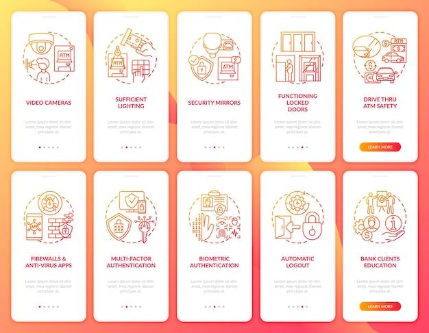 Банковская безопасность на экране страницы мобильного приложения с набором концепций. безопасность и биометрическое пошаговое руководство. 5 шагов, графические инструкции. шаблон пользовательского интерфейса с цветными иллюстрациями rgb