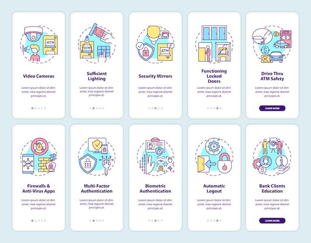 개념이 설정된 은행 보안 온 보딩 모바일 앱 페이지 화면. 안전 및 생체 인식 안내 5 단계. rgb 색상 삽화가있는 ui 템플릿