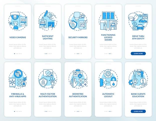コンセプトが設定された銀行のセキュリティオンボーディングモバイルアプリページ画面。安全性と生体認証のウォークスルー5ステップ。 rgbカラーイラスト付きのuiテンプレート