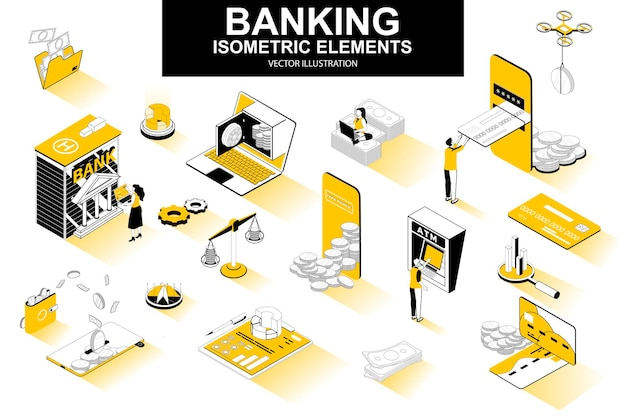 銀行サービスの3dアイソメ線要素