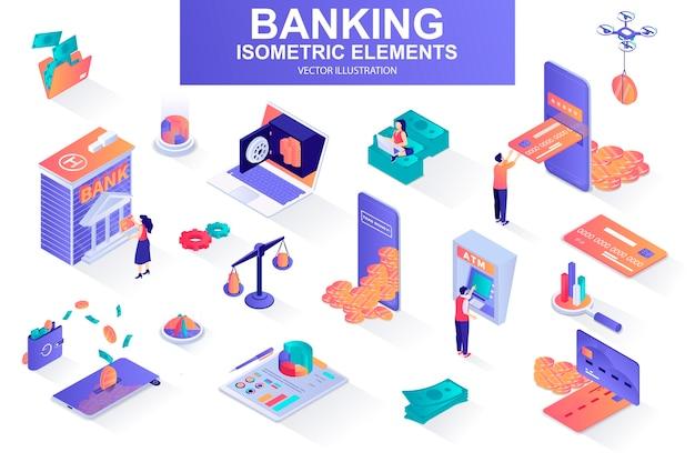 Banking services bundle of isometric elements  illustration
